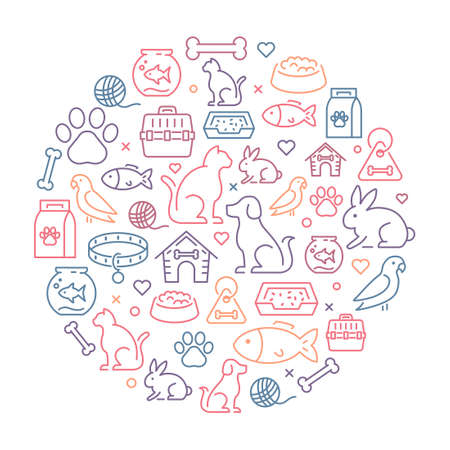 Animals background - thin line icons in a circle representing animals, pets and veterinary and healthcare topics.