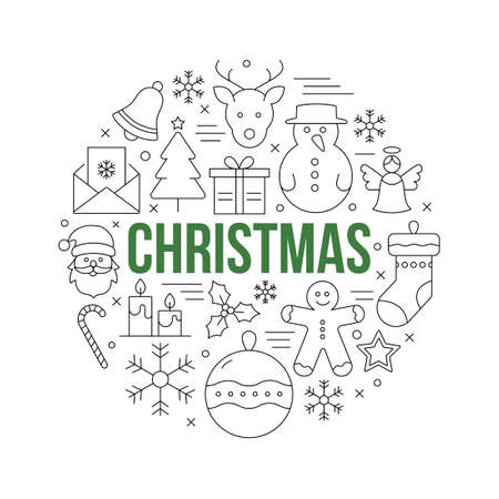 Christmas decorative background with icons symbolizing winter and Christmas Banque d'images - 134167927