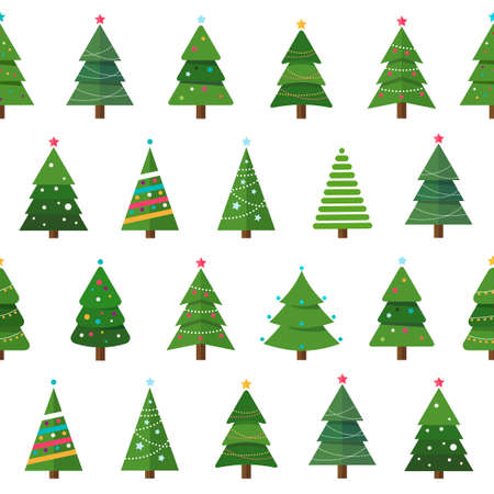 Collection of Christmas trees in a seamless pattern, modern flat design. Can be used for printed materials - leaflets, posters, business cards or for web.