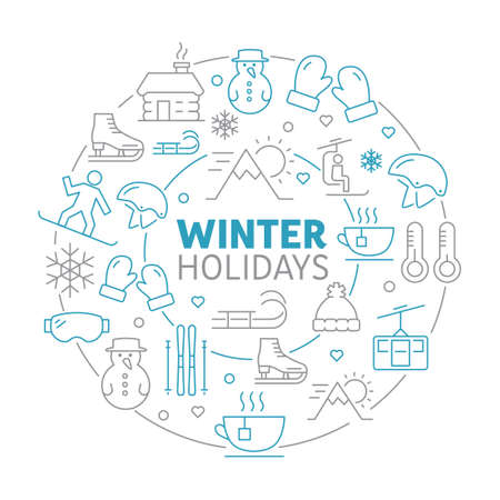 Winter holidays background made of icons representing winter sports and activities Banque d'images - 132541868