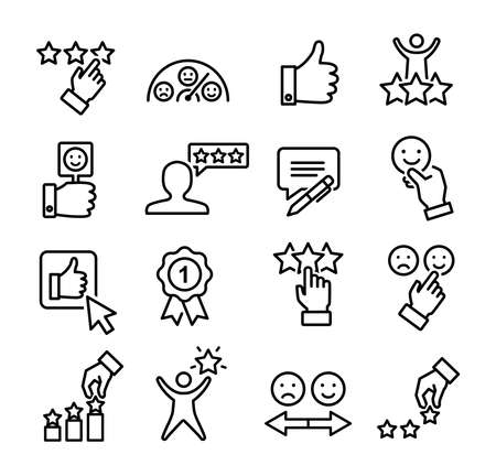 Customer review icons set, can be used to illustrate ratings, satisfaction, likes on social media or reviews of customers and clients