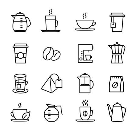 Coffee and tea icons - can be used to illustrate any topic about food and drinks, to decorate restaurant menus etc... Banque d'images - 134167930