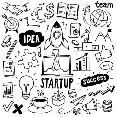 Startup doodles - hand drawn illustrations, can be used to illustrate startup launch, business opportunity, proces of creative thinking.