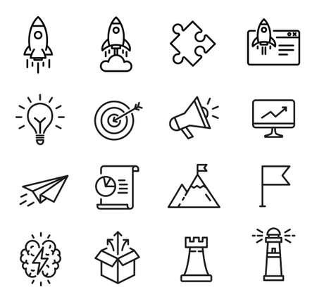Startup-Symbole, Thin-Line-Design, können verwendet werden, um den Start von Startups, Geschäftsmöglichkeiten und kreative Denkprozesse zu veranschaulichen Vektorgrafik