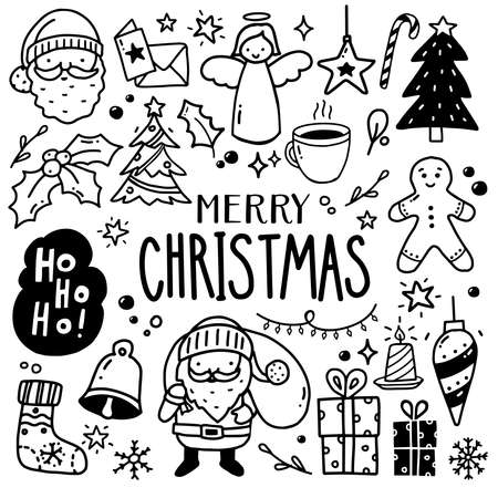 Collection of Christmas drawings - doodles, hand drawn set Banque d'images - 134167934