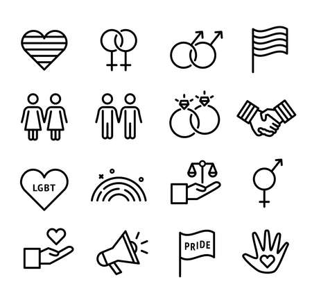 LGBT icons, can illustrate topics about gay and lesbians, transgender people, gay rights, gay marriages. Thin line design.