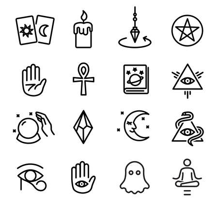 Occultism icons set - thin lines icons on white Illustration