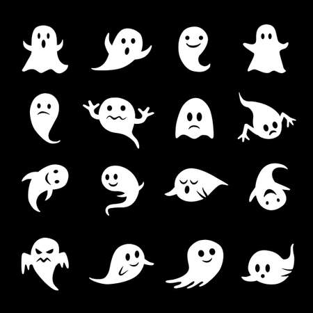 Collection of ghost icons on black Illustration