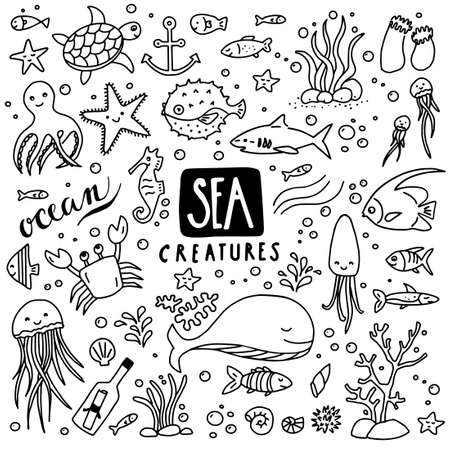 Collection of sea doodles - sea creatures, fish, octopuses, starfish etc. Can illustrate any topic about underwater, marine life etc... Illustration