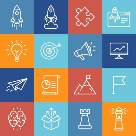 Startup icons, thin line design, can be used to illustrate startup launch, business opportunity, process of creative thinking