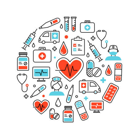 Background made of icons representing medicine and healthcare
