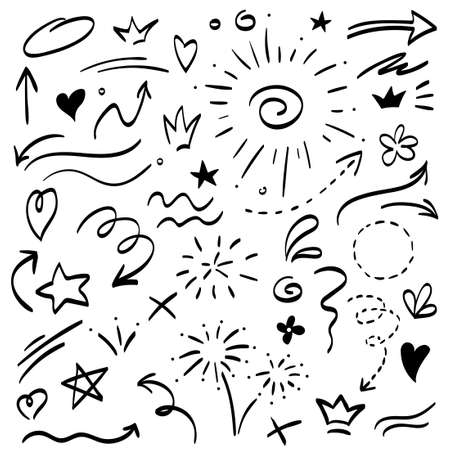 Collection of hand drawn arrows, can be used as navigation or as decorative sketchy elements.