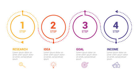 Four steps infographics - can illustrate a strategy, workflow or team work. Ilustracja