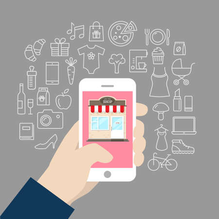 Shopping background concept with icons - shopping online, using a PC, tablet or a smartphone. Can be used to illustrate mobile communication topics or consumerism. Illustration