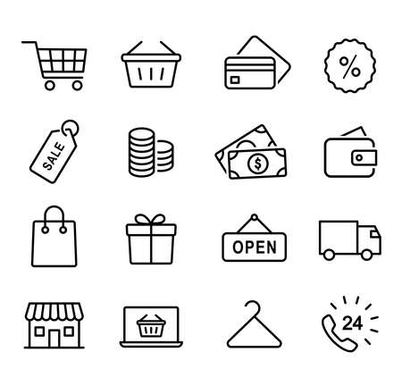 Collection of shopping icons, ordering goods, paying online, delivering, customer service