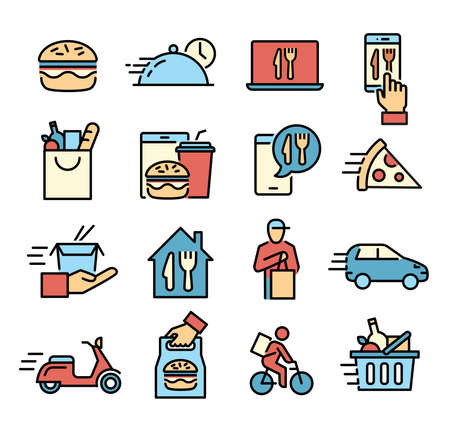 Collection of icons symbolizing food delivery, ordering meals, shopping online