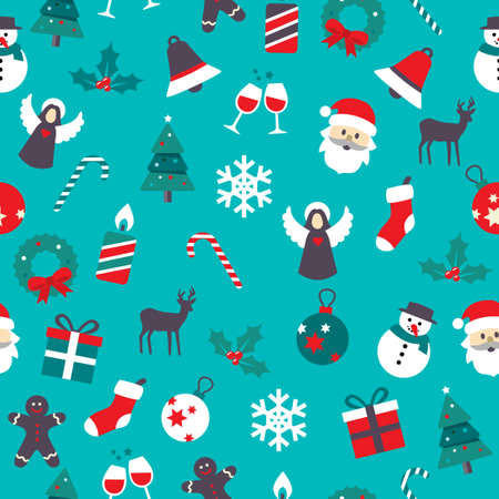Vector Christmas Icons Seamless Pattern. Can be used for wrapping paper, decoration cards, postcards. For web or print. Illustration