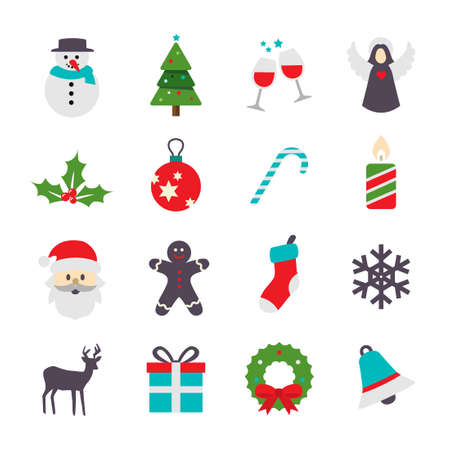Vector Icons Collection - Cute Christmas Symbols. For web or print.