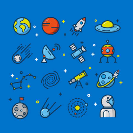 Collection of Astronomy And Space Icons Illustration