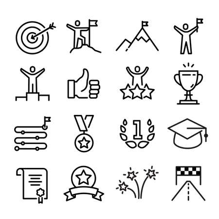 Collection of achievement and success icons, reaching a goal Illustration