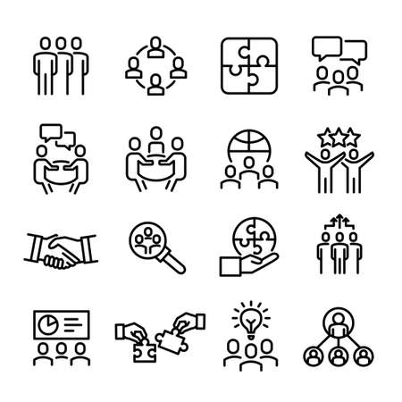 Collection of business icons - team work