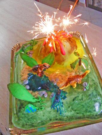 gumballs: cake fondant dinosaur volcano