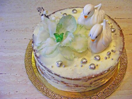 fondant fancy: cake fondant with swan Stock Photo