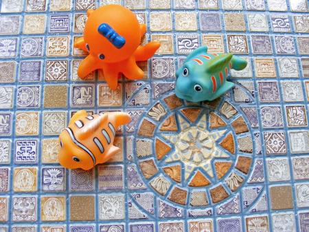 toys bath in mosaic background