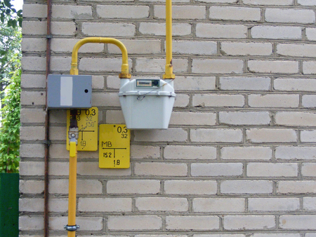 Installed Gas Meter with Pipes Archivio Fotografico