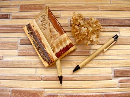 lexicographer: eco notebook and pen of natural material  twig, leaf, bark  on bamboo background