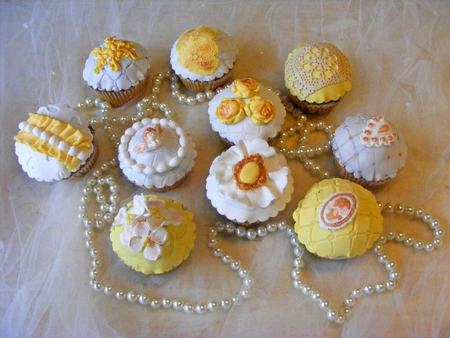yellow cupcakes vintage