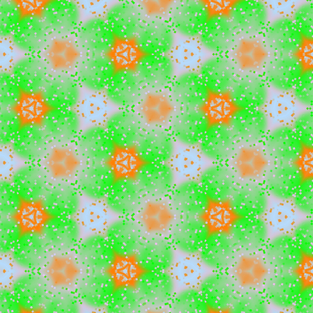 Modern floral spring pattern in watercolor motif in orange and light green