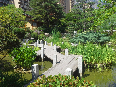 apanese garden of Monaco, with a Japanese house and a pond