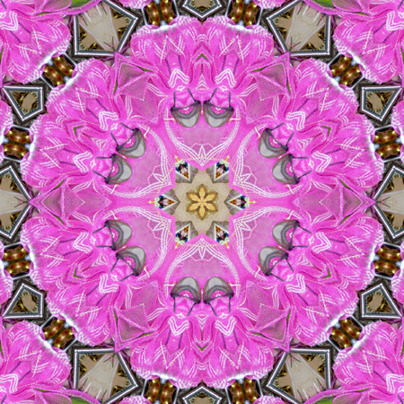 Kaleidoscope Mehndi style flower star with circles watercolor illustration pink floral fractal, tile effect