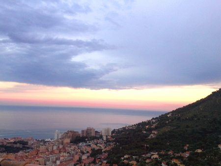 monaco sunset, panorama view Stock Photo