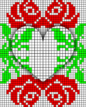 picture canvas with red roses and heart, Illustration of Cross Stitch Embroidery Rose Floral design for pattern texture Archivio Fotografico - 95806477