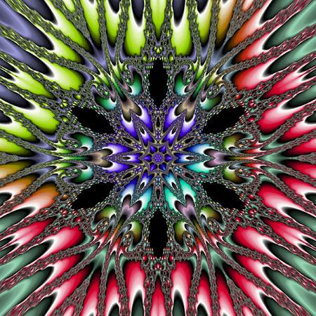 multicolor planetoid star Mandala Flower Vibrant Kaleidoscope, ornamental pattern in spectral colors Stock Photo