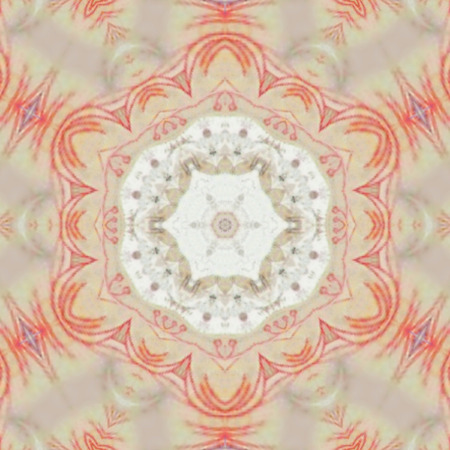 kaleidoscope beige tile with red ornament,  Inflatable ball in mandala in pale pastel colors