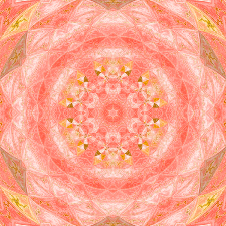 Kaleidoscope mandala star with circles watercolor illustration in pink and orange colors