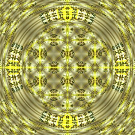 Watercolor Bamboo Oriental Mandala fractal background Stock Photo