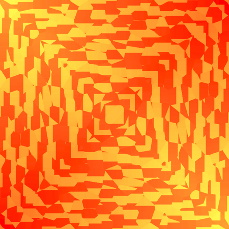 Art Nouveau style pattern in orange and red square and points