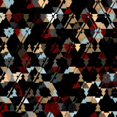 三角形の暗い迷彩パターン、暗い背景にカラフルな三角形 写真素材
