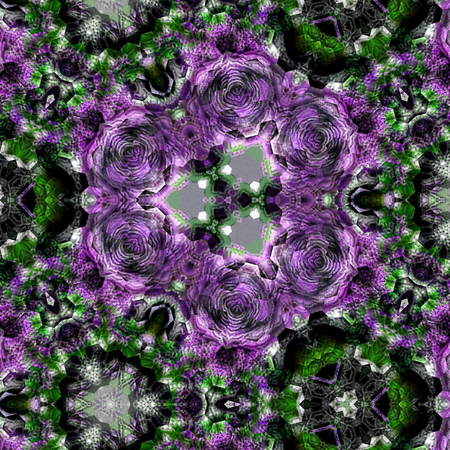 Kaleidoscope Mehndi style with circles violet floral fractal