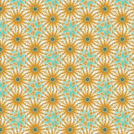 web background pattern blue teal orange Flower Kaleidoscope Stock Photo