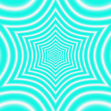 teal pattern with symmetric geometric star ornament, effect optical illusion
