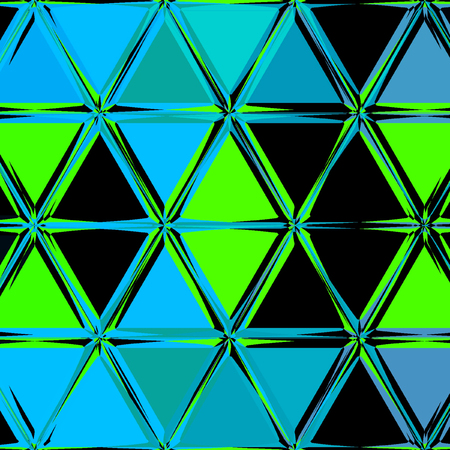 irregular polygonal triangle neon vibrant background in teal, blue, green