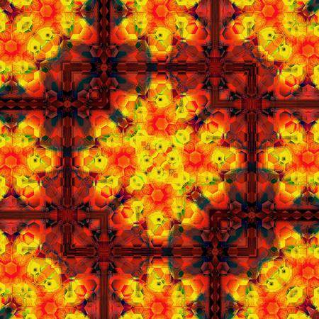 pattern of orange triangle flower kaleidoscope Stock Photo