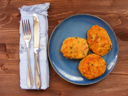 Rissoles of ham, cheese  and potatoes on blue plate on rustic background with blue napkin and cover