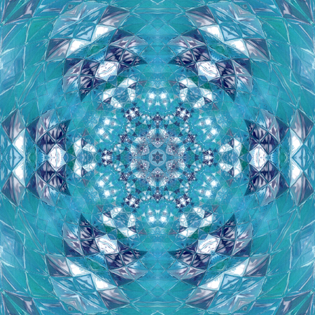 Peace Blue Mandala Kaleidoscopic design Stock Photo