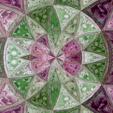 ultra violet glass flower quartz effect stained glass, colorful mosaic tile pattern in violet, green and white